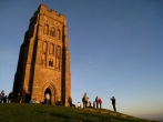 Glastonbury Tor as the sun is setting on a beautiful winter day.