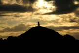 Silhouette of Glastonbury Tor.