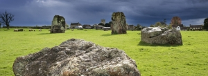 Dramatic skies over the stone circles. Stanton Drew Stone circle, image courtesy & © English Heritage Photo Library.