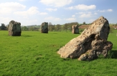 A circle of standing stones from one of the stone circles.
