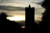 Silhouette of the tower at dusk