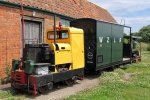 The loco is a 1968 Motor Rail Ltd (Simplex) Type 40S 310, which came from Severn Trent Water Authority having been used at Minworth Sewage Treatment Works.  Behind the loco is Guard's Van No.2001 and the Lister Railtruck. Image © Alan Davies