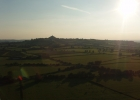Evening flight over the Levels with Glastonbury Tor. Image supplied by the Ballooning Network.