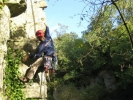 Abseiling in the Mendip Hills.